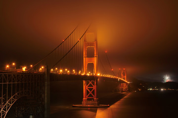 Golden Gate bridge, night, fog