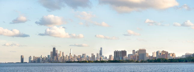 Panoramic photo of Chicago summer day