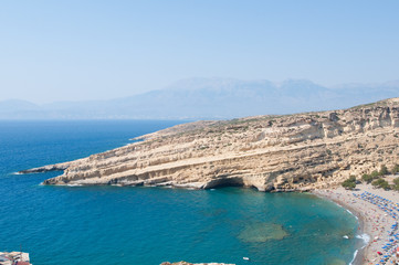 Panoramic view of Matala caves and beach on Crete in Greece.