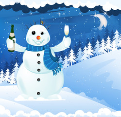 Snowman with champagne
