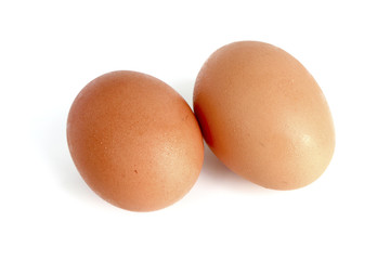2 eggs isolated on white background