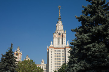 Moscow State University building. View from park