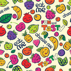 seamless colorful vector pattern, hand drawn berry and fruits
