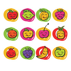 funny colorful fruits, vector icons