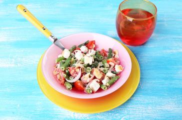 Fresh breakfast consisting of vegetable salad served