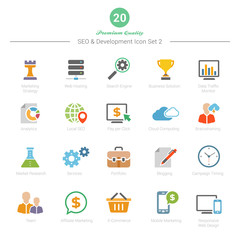 Set of Full Color SEO and Development icons Set 2