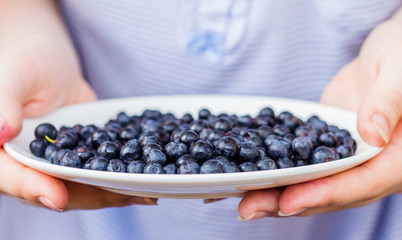 plate with blueberries in hand