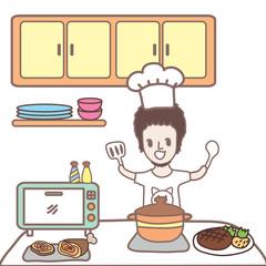 cartoon man cooking