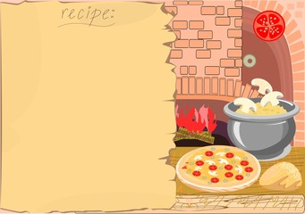 Background with the recipe and  kitchen