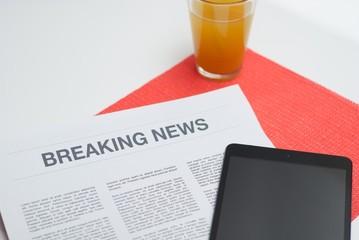 Newspaper read at breakfast