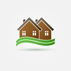 Bright real estate icon - vector brow house symbol