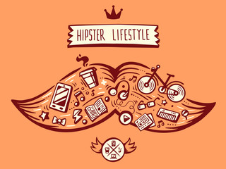 vector illustration big mustache of hipster life style with diff
