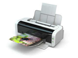 Color printer prints photo on white isolated background.