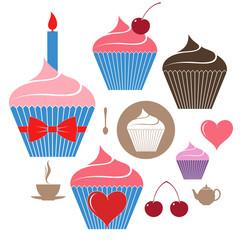 Birthday cake. Icon set