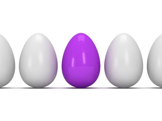 Purple egg in a row of the white eggs. 3D.