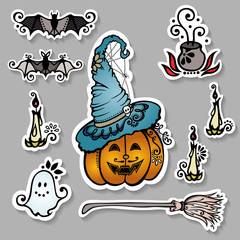Vector Set of Ornate Halloween Decorations, Patterned Stickers