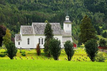 Wall Mural - Norwegia , krajobraz wiejski, kściół