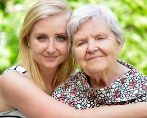 Grandmother and granddaughter. Happy family.
