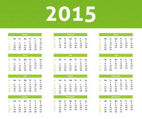 2015 calendar in light style with green halftone effect