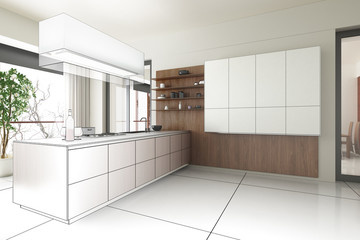 Kitchen accented in Wood (draw)