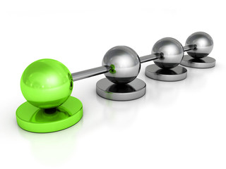 metallic concept sphere network with green leader ball