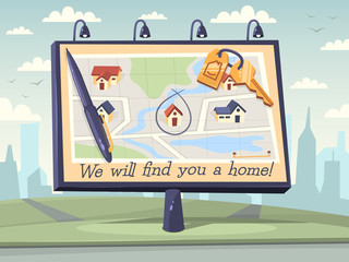 We will find you a home. Vector illustration.