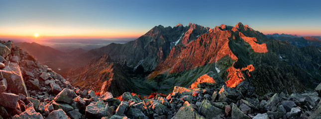 Printed roller blinds Gray traffic Mountain sunset panorama from peak - Slovakia Tatras