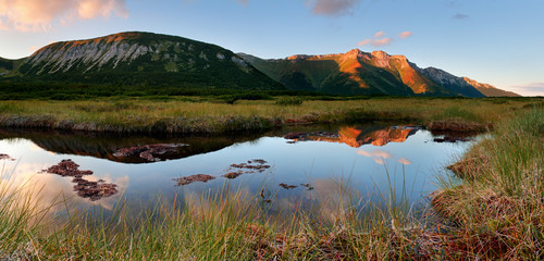Belianske Tatras with Trojrohe lake in Slovakia