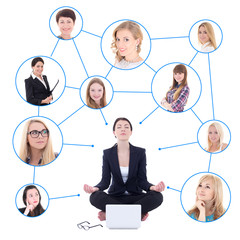 relaxing business woman sitting with laptop and her social netwo
