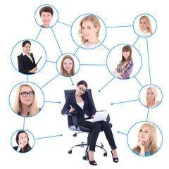 social network concept - business woman with laptop and her clie