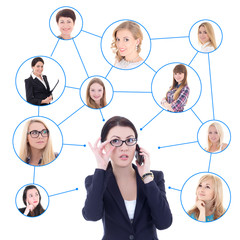 social network concept - business woman with mobile phone and he