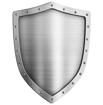 golden metal shield isolated on white