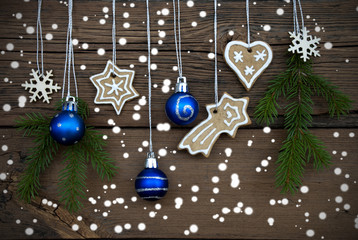Different Christmas Decorations on Wood
