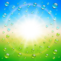Sunny background, with water drops