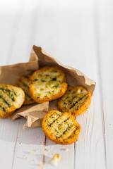 Golden crunchy grilled herb bread from the BBQ