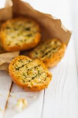 Crisp crunchy toasted herb buns or baguette