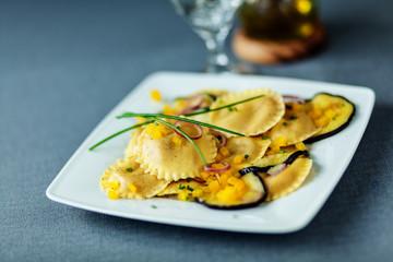 Vegetarian ravioli with eggplant