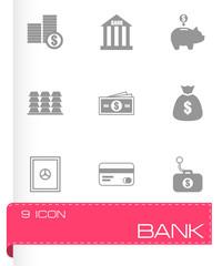 Vector black bank icons set