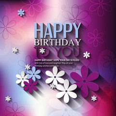 Vector birthday card with flowers on colorful background.