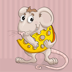 animation little mouse with slice of cheese on pink background