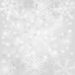 Background of snowflakes in gray colors
