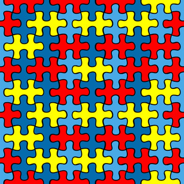 Autism Awareness puzzle seamless pattern