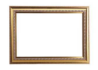 gold photo frame isolated