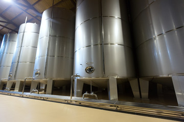 stell barrels in winery factory