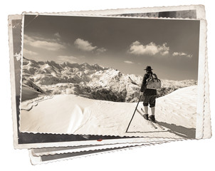 Fototapete - Vintage photos with skier