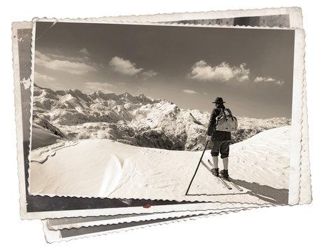 Black and white photos, Vintage photos with skier