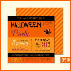 Halloween Invitation Orange Spider