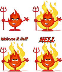 Flame Cartoon Mascot Character 6. Collection Set