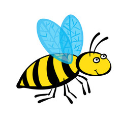 Cartoon bee, vector illustration