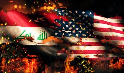 Iraq USA Flag War Torn Fire International Conflict 3D